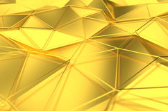 Abstract 3d rendering of gold surface. Background with futuristic lines and low poly shape Royalty Free Stock Images