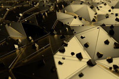 Abstract 3d rendering of gold surface with chaotic Royalty Free Stock Images