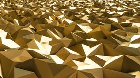 Abstract 3d rendering of gold surface. Futuristic background. With lines and low poly shape Vector Illustration