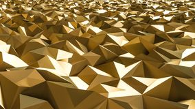 Abstract 3d rendering of gold surface. Futuristic background wit. H lines and low poly shape Royalty Free Stock Photography
