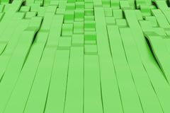 Abstract 3D rendering of green sine waves Stock Photos
