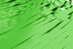 Abstract 3D rendering of green sine waves Stock Photo