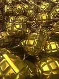 Abstract 3d rendering hand gold grenades. Abstract golden glossy metal hand grenades background. 3d rendering Stock Photography
