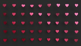 Abstract 3D Rendering of Heart Shapes. Love symbol, modern Valentine`s day background design for poster, cover, branding, banner stock illustration