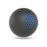 Abstract 3D-rendering low poly black sphere. Abstract 3D-rendering low poly black sphere with blue structure. White background. The futuristic shape Royalty Free Stock Image