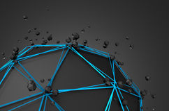 Abstract 3d rendering of low poly black sphere Royalty Free Stock Photo