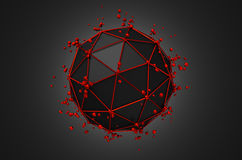 Abstract 3d rendering of low poly black sphere Royalty Free Stock Photography