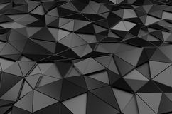 Abstract 3D Rendering of Low Poly Black Surface Stock Photography