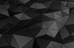 Abstract 3D Rendering of Low Poly Black Surface. Abstract 3d rendering of black surface. Background with futuristic low poly shape royalty free illustration
