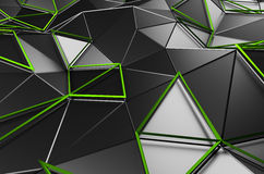 Abstract 3D Rendering of Low Poly Black Surface. Abstract 3d rendering of black surface. Background with futuristic low poly shape Royalty Free Stock Image