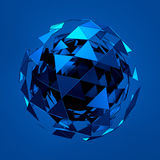 Abstract 3d rendering of low poly blue sphere with. Chaotic structure. Sci-fi background with wireframe and globe in empty space. Futuristic shape Royalty Free Stock Photo