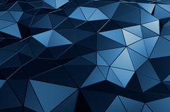 Abstract 3D Rendering of Low Poly Blue Surface. Abstract 3d rendering of blue surface. Background with futuristic polygonal shape Stock Image