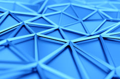 Abstract 3D Rendering of Low Poly Blue Surface. Abstract 3d rendering of blue surface. Background with futuristic polygonal shape Royalty Free Stock Photos