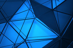 Abstract 3D Rendering of Low Poly Blue Surface. Abstract 3d rendering of blue surface. Background with futuristic polygonal shape Stock Photo