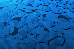 Abstract 3D Rendering of Low Poly Blue Surface Royalty Free Stock Photo