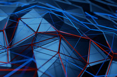 Abstract 3D Rendering of Low Poly Blue Surface Stock Photos