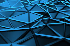 Abstract 3D Rendering of Low Poly Blue Surface Stock Photo