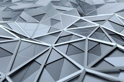 Abstract 3D Rendering of Low Poly Chrome Surface Stock Photos