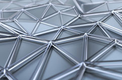 Abstract 3D Rendering of Low Poly Chrome Surface. Abstract 3d rendering of chrome surface. Background with futuristic low poly shape Royalty Free Stock Images