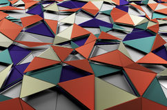Abstract 3d rendering of low poly colored surface. Background with futuristic shapes Stock Image