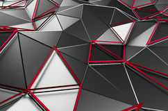 Abstract 3D Rendering of Low Poly Dark Surface. Abstract 3d rendering of dark surface. Background with futuristic polygonal shape Stock Photo