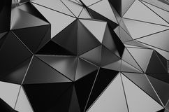 Abstract 3D Rendering of Low Poly Dark Surface. Abstract 3d rendering of dark surface. Background with futuristic polygonal shape Stock Photography
