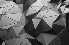 Abstract 3D Rendering of Low Poly Dark Surface. Abstract 3d rendering of dark surface. Background with futuristic low poly shape Royalty Free Stock Images