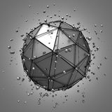 Abstract 3d rendering of low poly metal sphere Stock Photos
