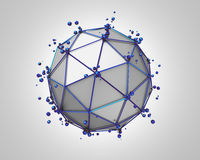 Abstract 3D Rendering of Low Poly Metal Sphere. With chaotic structure. Sci-fi background with wireframe and globe in empty space. Futuristic shape Stock Images