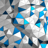 Abstract 3d rendering of low poly metal surface. Abstract 3d rendering of metal surface. Background with futuristic low poly wall Stock Photography