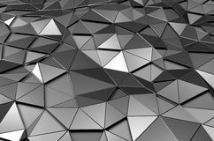 Abstract 3d rendering of low poly metal surface. Futuristic background Royalty Free Stock Photos