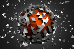 Abstract 3d rendering of low poly sphere with Royalty Free Stock Photo