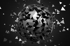 Abstract 3d rendering of low poly sphere with. Chaotic structure. Sci-fi background with globe in empty space. Futuristic shape Stock Photography