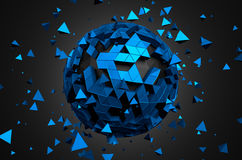 Abstract 3D Rendering of Low Poly Sphere. With chaotic structure. Sci-fi background with globe in empty space. Futuristic shape Royalty Free Stock Photography