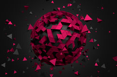 Abstract 3D Rendering of Low Poly Sphere Royalty Free Stock Photo