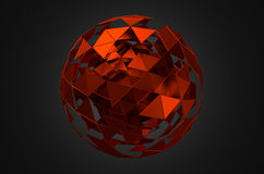 Abstract 3d rendering of low poly sphere with. Chaotic structure. Sci-fi background with wireframe and globe in empty space. Futuristic shape Stock Photography