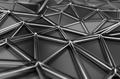 Abstract 3D Rendering of Low Poly Surface. Background with futuristic polygonal shape Stock Photography