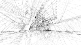 Abstract 3D rendering of matrix wireframe space. Abstract 3D matrix wireframe space stock illustration