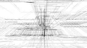 Abstract 3D rendering of matrix wireframe space. Abstract 3D matrix wireframe space vector illustration