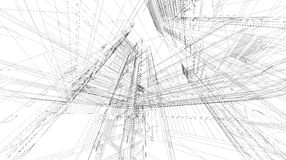 Abstract 3D rendering of matrix wireframe space. Stock Photography