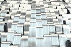 Abstract 3D rendering of metal sine waves Stock Photos