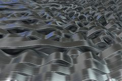 Abstract 3D rendering of metal sine waves Stock Photography