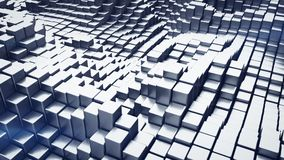 Abstract 3D rendering of metalic blocks. Computer generated image stock illustration