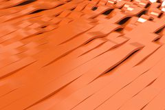 Abstract 3D rendering of orange sine waves. Bended stripes background. Reflective surface pattern. 3D render illustration Stock Image
