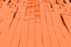 Abstract 3D rendering of orange sine waves. Bended stripes background. Reflective surface pattern. 3D render illustration Royalty Free Stock Image