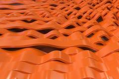 Abstract 3D rendering of orange sine waves. Bended stripes background. Reflective surface pattern. 3D render illustration Stock Images