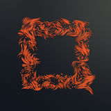 Abstract 3d rendering orange strands on dark background Stock Image