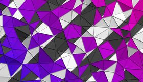 Abstract 3D Rendering of Polygonal Background. Abstract 3d rendering of triangulated surface. Modern background. Futuristic polygonal shape. Low poly Royalty Free Stock Photos