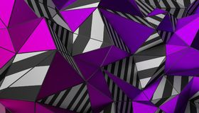 Abstract 3D Rendering of Polygonal Background. Abstract 3d rendering of triangulated surface. Modern background. Striped polygonal shape. Low poly minimalistic Stock Images