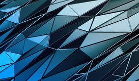 Abstract 3D Rendering of Polygonal Background. Abstract 3d rendering of triangulated surface. Contemporary background of futuristic polygonal shape. Distorted Royalty Free Stock Image